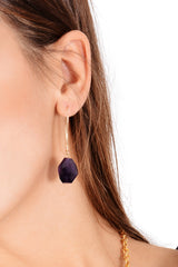 BY THE STONES AMETHYST Long Hook Earrings