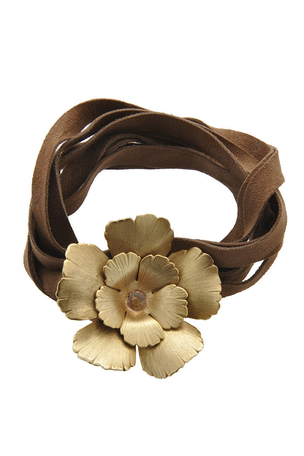 BY THE STONES BROWN Suede Flower Leather Bracelet