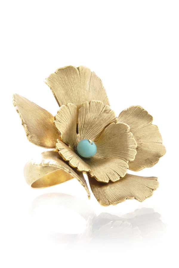 BY THE STONES FLOWER Gold Flower Turquoise Ring