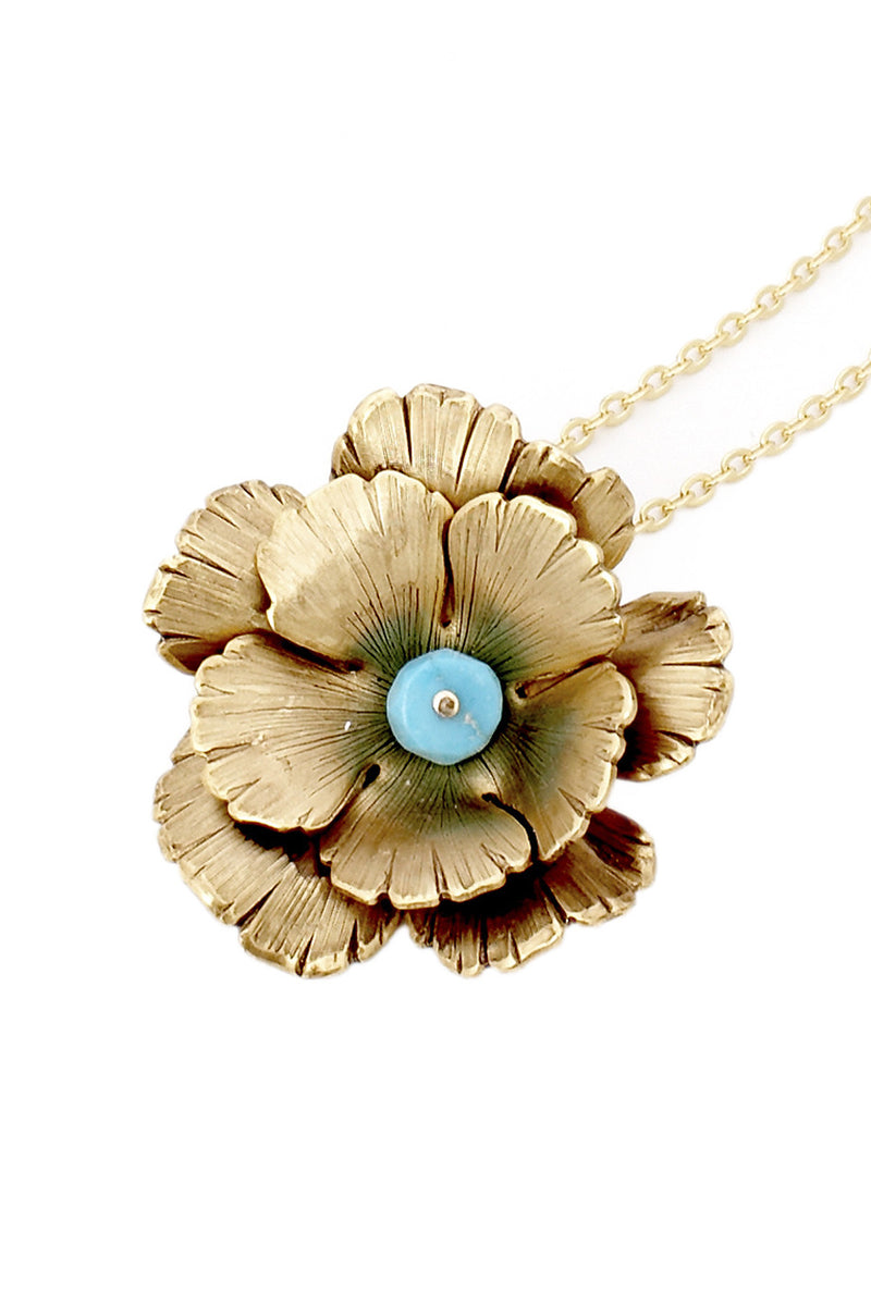BY THE STONES FLOWER Turquoise Pendant