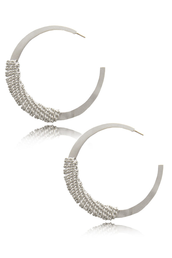 BY THE STONES JOPLIN Silver Chain Hoop Earrings