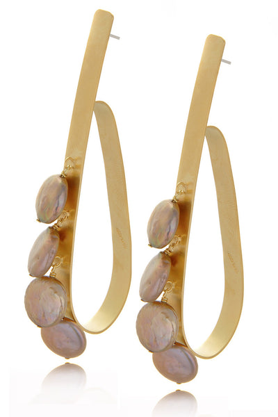 BY THE STONES LOOP Gold Champagne Pearl Hoops
