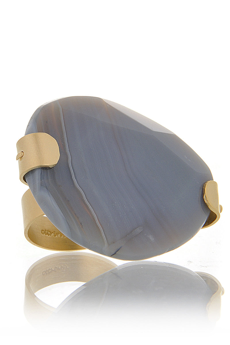 BY THE STONES PEBBLES Gray Botswana Ring