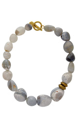BY THE STONES PEBBLES Grey Botswana Necklace