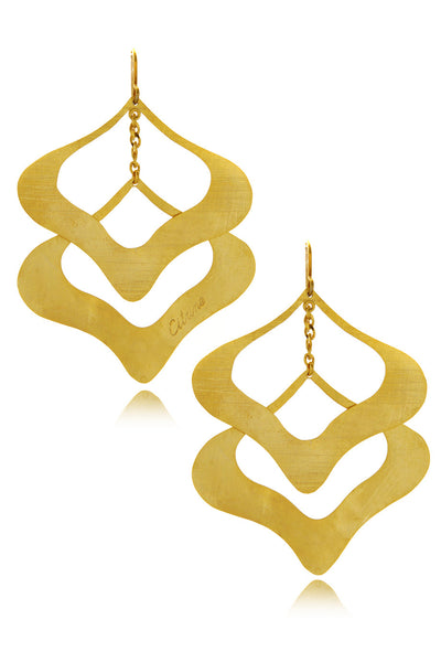 BY THE STONES PETAL Double Gold Earrings