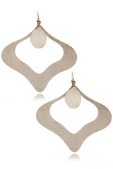 BY THE STONES PETAL Silver Pearl Earrings