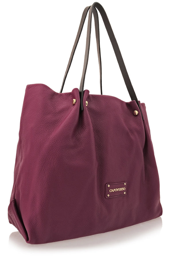 CAPOVERSO - ADRIA Prune Leather Tote Bag - Handbags - Shoulder Bags
