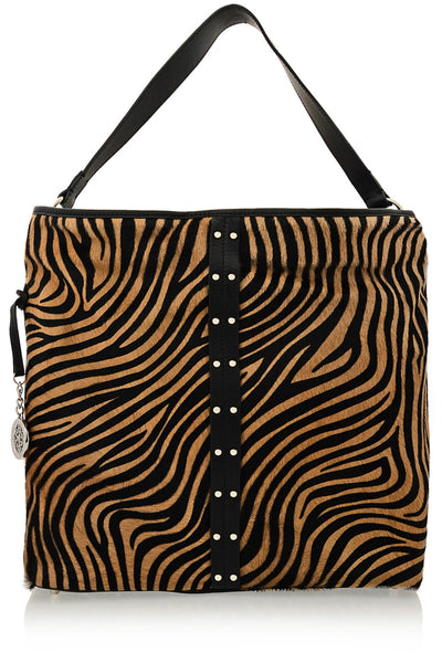 ZEBRINA Pony Printed Leather Bag