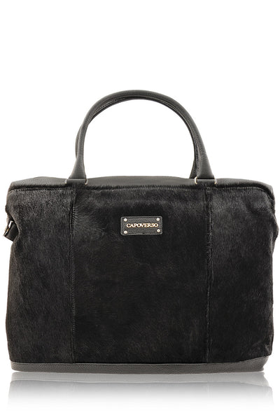 CAPOVERSO CAVALLINO Black Pony Hair Leather Grab