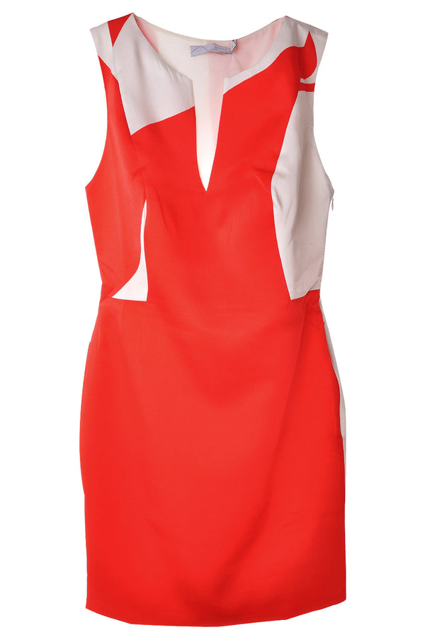 CARLOS MIELE ABSTRACT Red Patterned Silk Dress