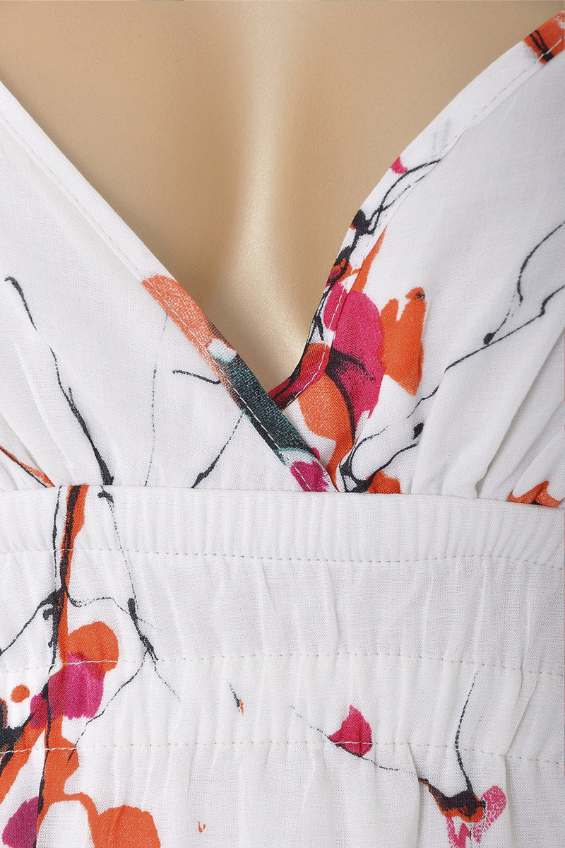 CARLOS MIELE AQUARELLE White Floral Printed Dress
