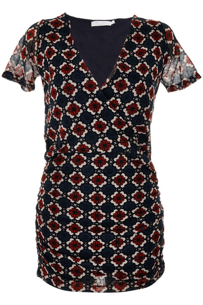 CARLOS MIELE BAILEY Printed Dark Blue Mini Fitted Dress