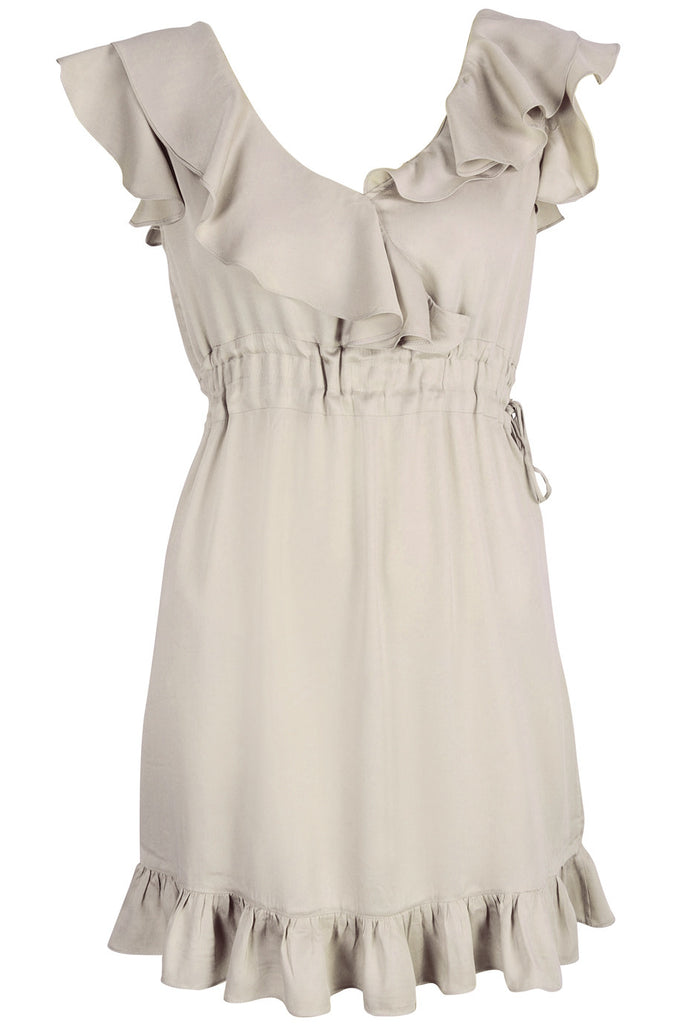 CARLOS MIELE BEIGE Ruffled Viscose Dress