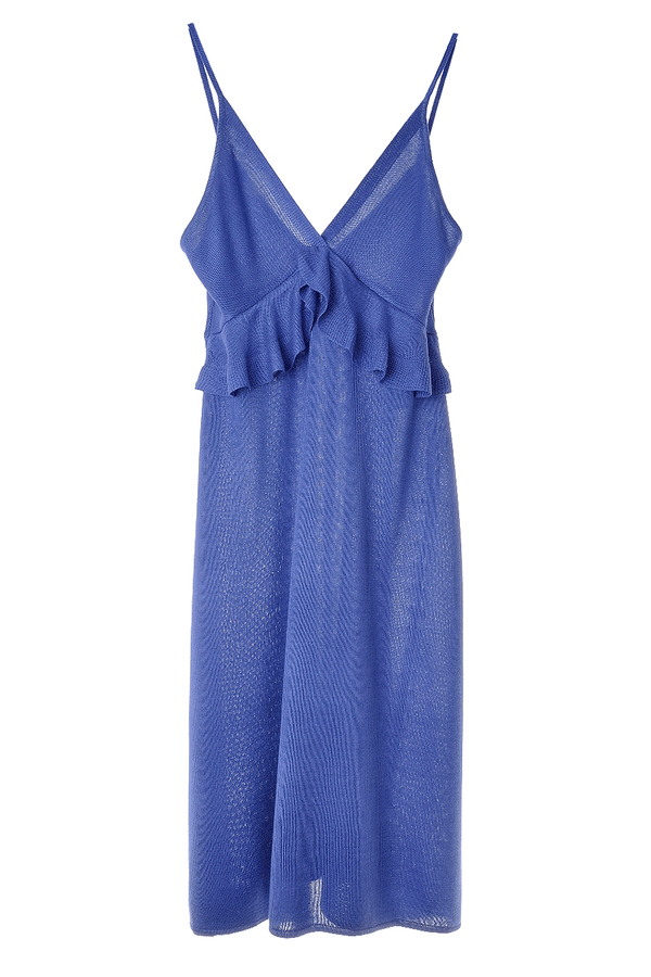 CARLOS MIELE COBALT Ruffled Blue Purple Knitted Dress