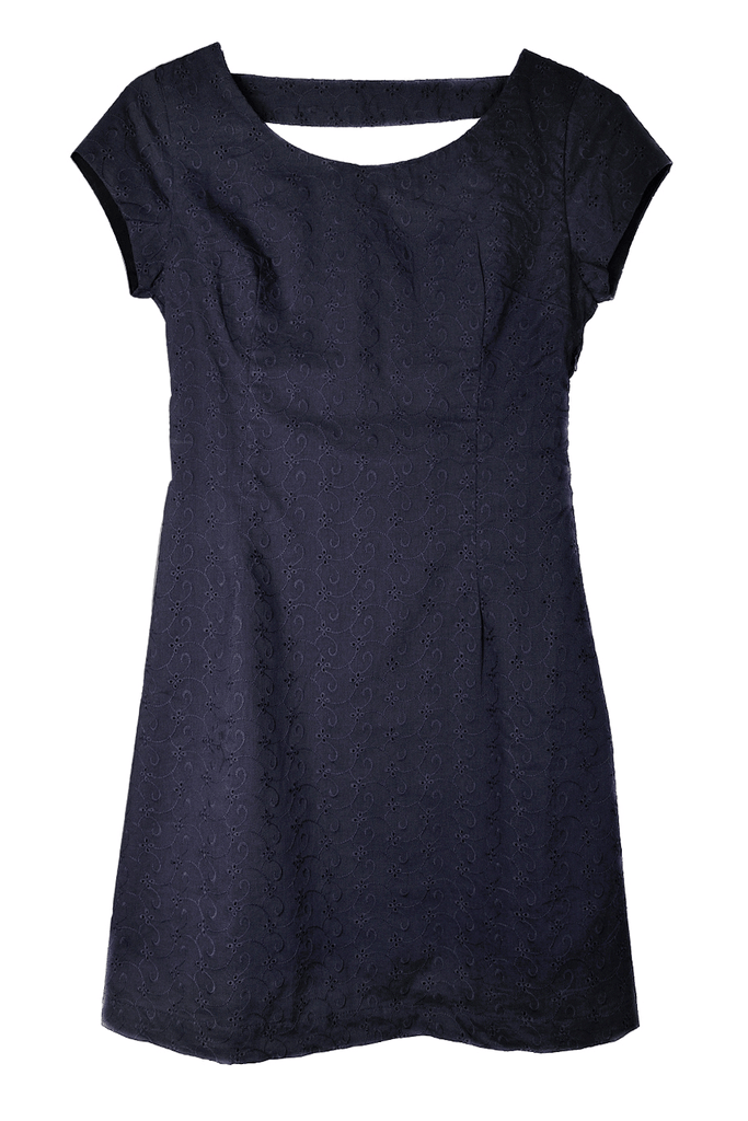CARLOS MIELE ELIZA Open Back Blue Cotton Dress
