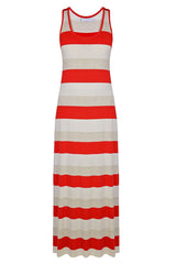 CARLOS MIELE KARLA Red and Beige Maxi Striped Dress