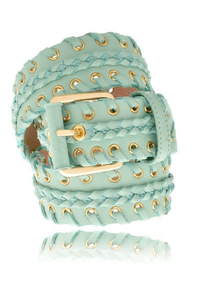 CARLOS MIELE BRAIDED Jade Leather Belt