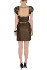 CARLOS MIELE MESH Nude Black Dress