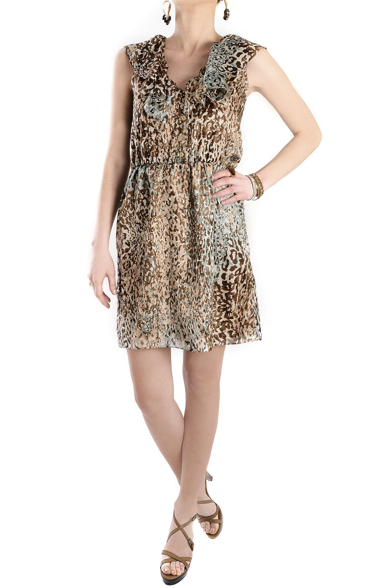 CARLOS MIELE MINT Beige Silk Leopard Dress