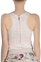 CARLOS MIELE SHREDDED Off White Tank Top