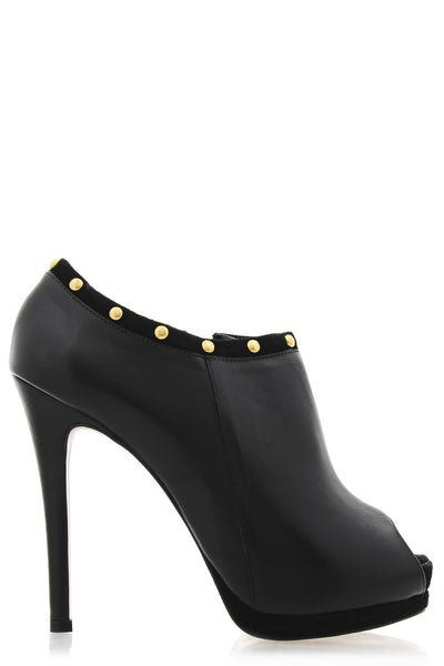 IVONNE Black Leather Ankle Boots