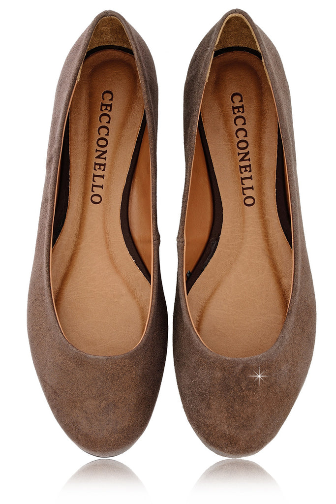 CECCONELLO LEELA Brown Suede Ballerinas