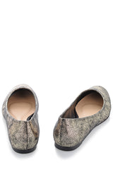 CECCONELLO LEELA Gold Crackled Ballerinas