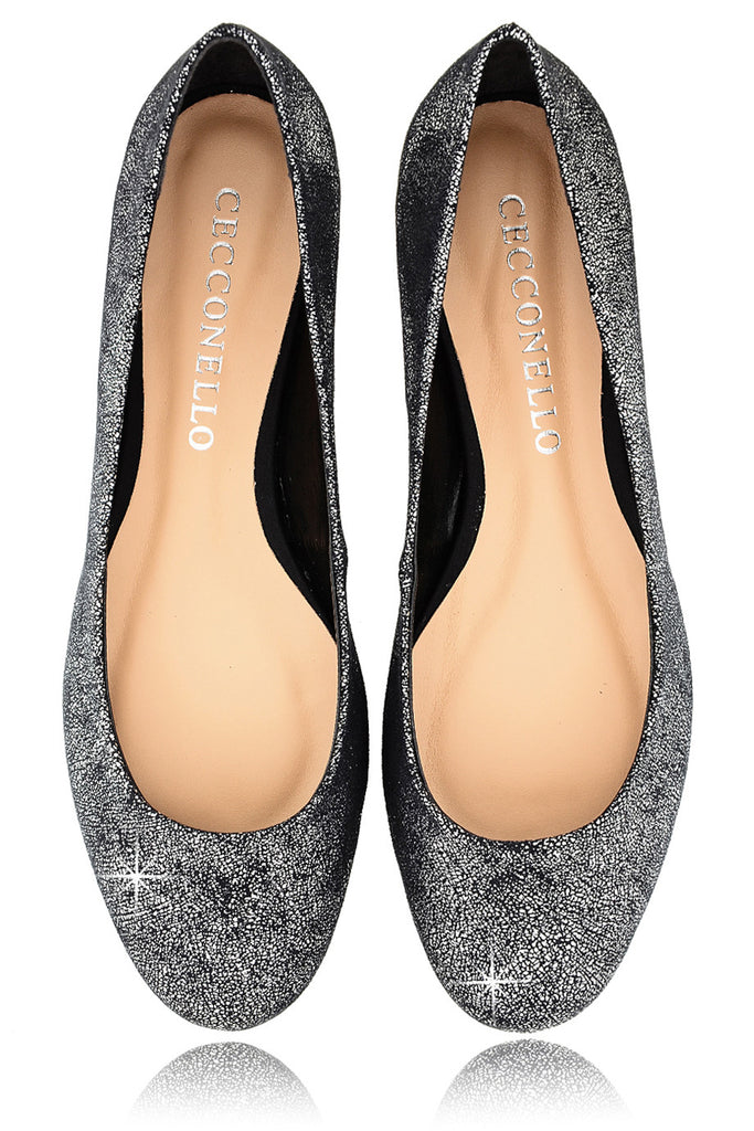 CECCONELLO LEELA Silver Crackled Ballerinas