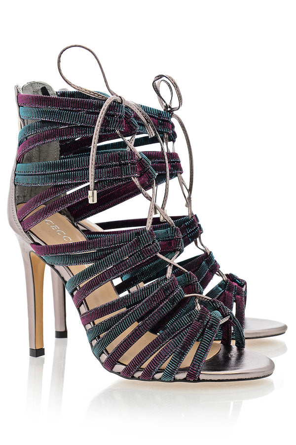 CECCONELLO ALESIA Purple Petrol Cord Heeled Sandals