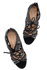 CECCONELLO ALESIA Silver Black Cord Heeled Sandals