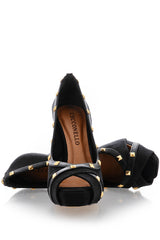CECCONELLO AZARIA Black Suede Studded Pumps