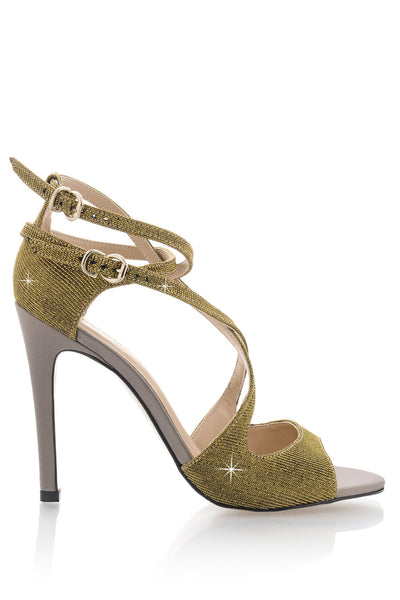 CECCONELLO FELICITA Gold Strap Heeled Sandals