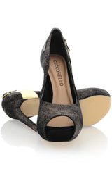 CECCONELLO MADISYN Bronze Crackled Peep Toe