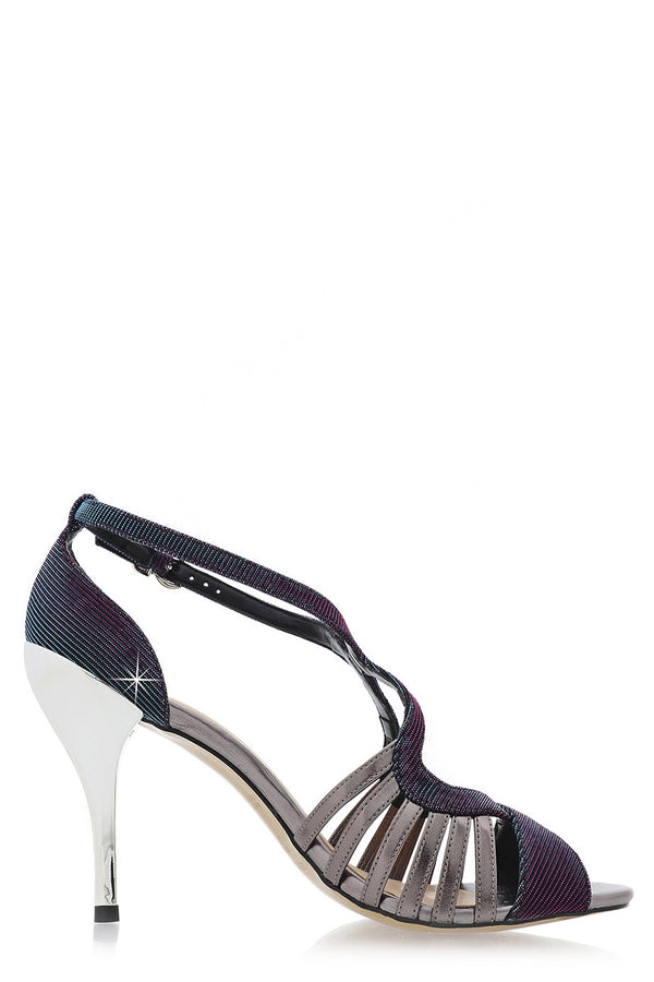 CECCONELLO TERESA Metallic Petrol Holographic Sandals