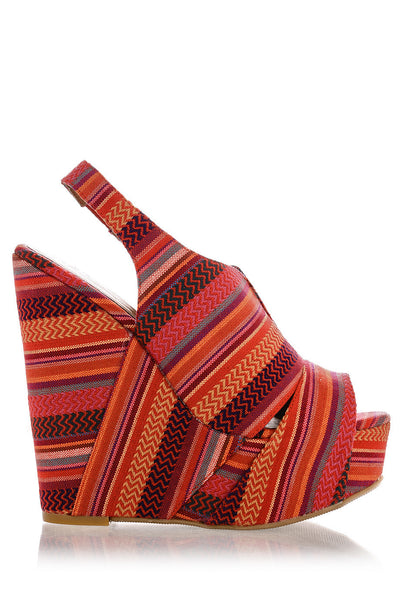 CHINESE LAUNDRY JEWEL TONE Striped Zigzag Wedges