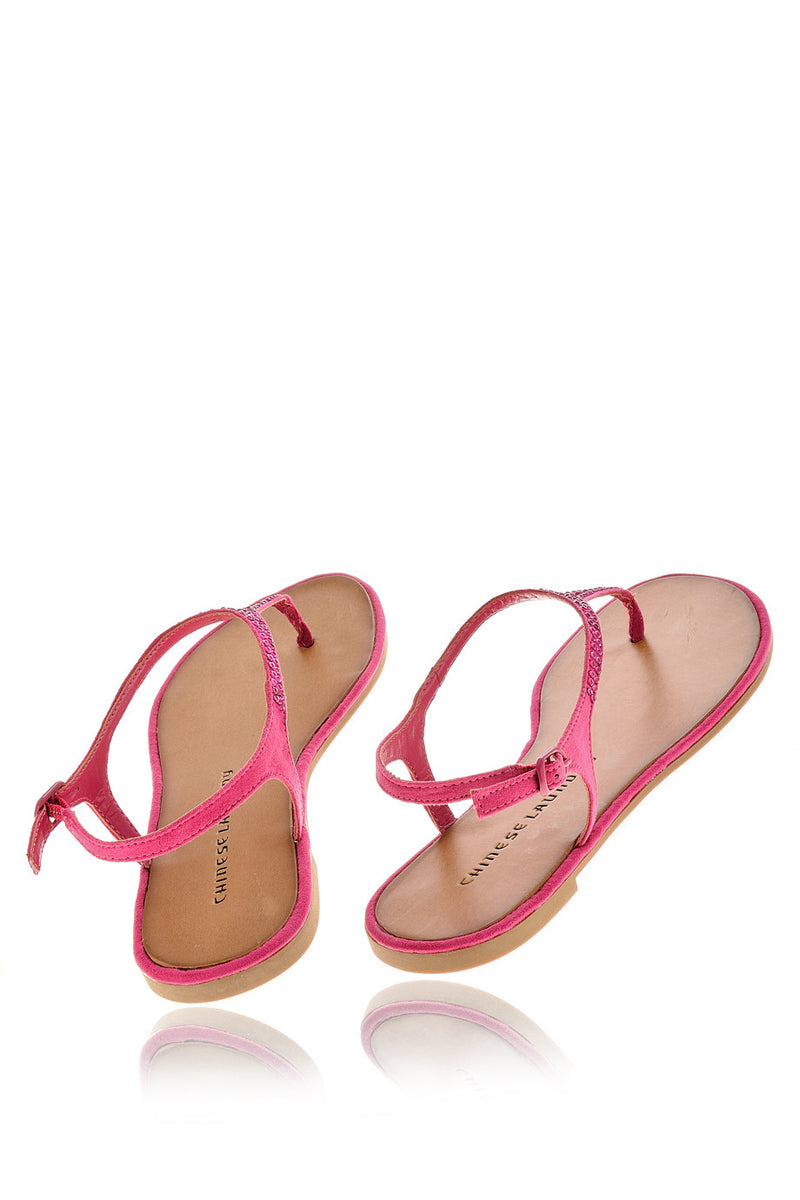 CHINESE LAUNDRY GAME SHOW Fuchsia Crystal T-bar Sandals