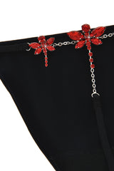 CHRISTIES FLOWER Crystal Black Thong
