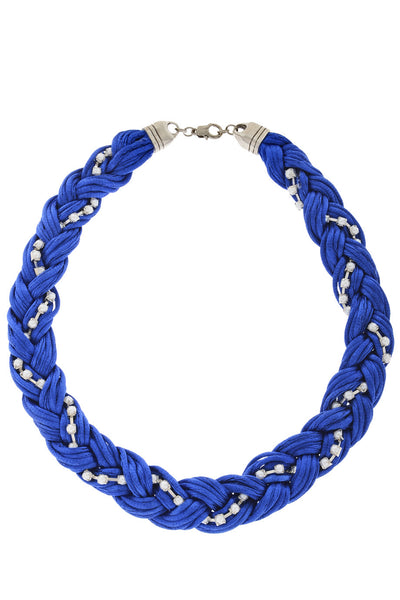 CLAIRE VANS HELEN Royal Blue Pearl Braided Necklace