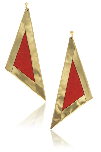 CLAIRE VANS SEMINA Red Gold Triangle Earrings