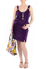 CLUBE BOSSA VELOUR Purple Cotton Dress
