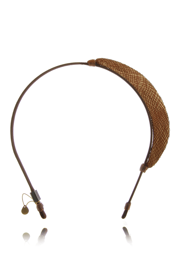 COLETTE MALOUF CRESCENT Burned Gold Metal Net Headband