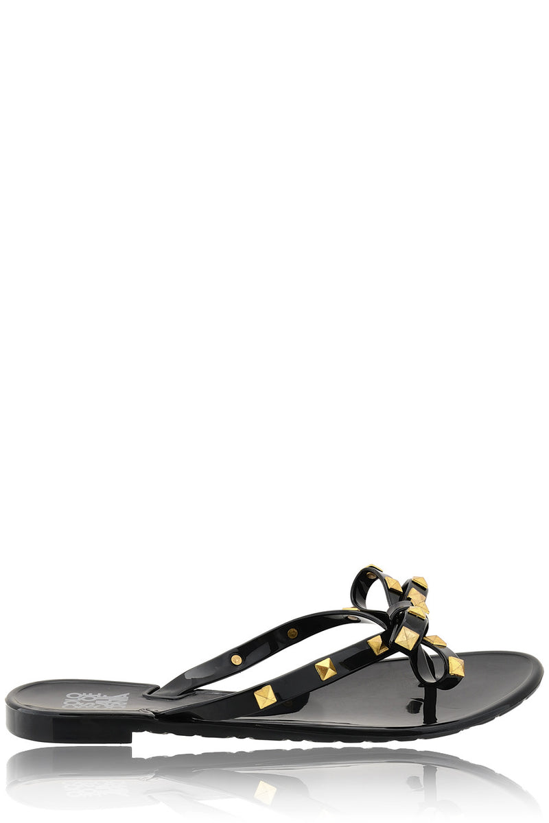 COLORS OF CALIFORNIA JACQUELINE Black Studded Flip Flops