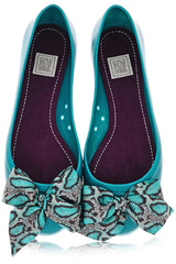 COLORS OF CALIFORNIA CHIC IN THE CITY Petrol Snakeskin Ballerinas
