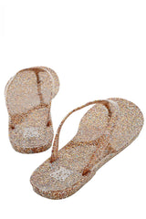 COLORS OF CALIFORNIA GLITTER Peach Thong Flip Flops