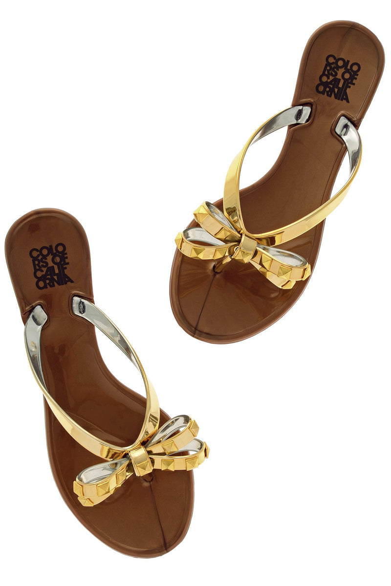 COLORS OF CALIFORNIA JACQUELINE Gold Flip Flops