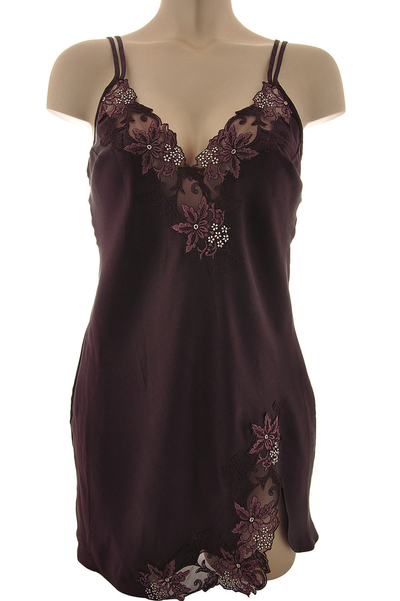 COTTON CLUB BOUNCE Brown Silk Lace Chemise