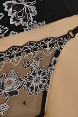 COTTON CLUB FLORAL Embroidered Black Thong