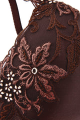 COTTON CLUB FLORAL LACE Brown Bra