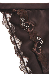 COTTON CLUB FLORAL LACE Brown Slip