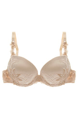 COTTON CLUB IVORY Silk Floral Bra